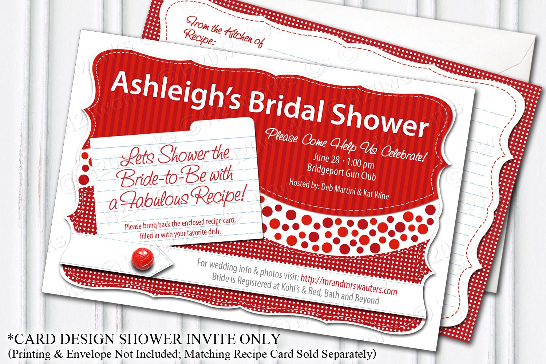 Bridal Shower Invitation - Red, PRINTABLE, Customizable, DIY, Bride ...