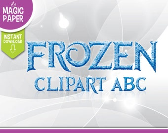 Frozen Clipart, Printable Frozen Letters + Numbers - Cliparts 300 DPI PNG Images, Invitations, Scrapbooking