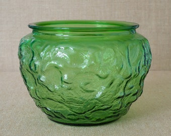 Mid-Century Green Glass Planter - E. O. Brody & Co. Marked