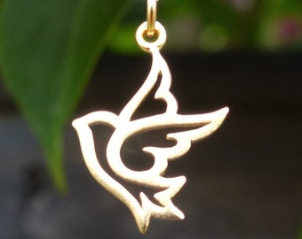 24 Carat Gold Bird Pendant Satin 24K Gold Plated Peace Dove Bird Charm for Necklace