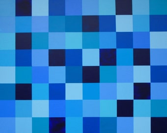 Blue Squares 24 X 30 Original Abstract Painting