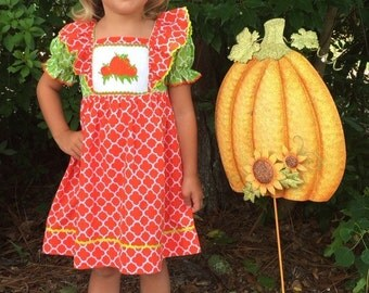 Fall/Pumpkin smocked dress