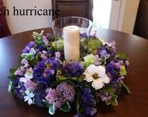 15% off, Hydrangea Candle Wreath, Wedding Candle Ring, Candle Ring, Purple Hydrangea Wreath, Candle Decor, Table Wreath