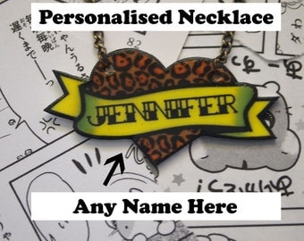 Personalised Leopard Print Heart Necklace - Rockabilly Sailor Jerry Navy Tattoo