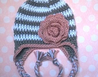 Crochet Baby Girl Earflap Hat