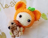 Amigurumi crochet doll Mini fruit and dog keychain,bag charm
