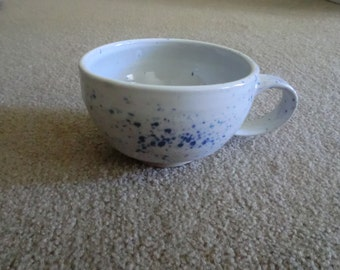 Handmade White Teapcup with Blue Speckles