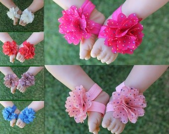 Baby Barefoot Sandals Handmade Foot Flower Girl Flower Shoes Footwear Photo Prop Free Postage