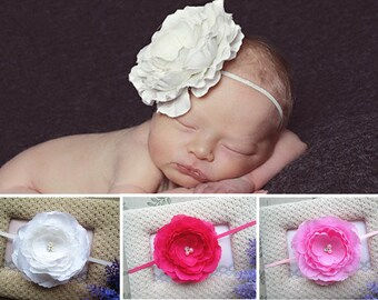 Newborn Baby Headband Skinny Elastic Stretchy Large Flower Girl Hairband Photo Prop