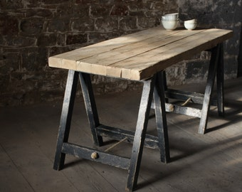 trestle table on etsy a global handmade and vintage marketplace. Black Bedroom Furniture Sets. Home Design Ideas