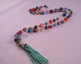 Necklace multicolor, been, boho, long necklace
