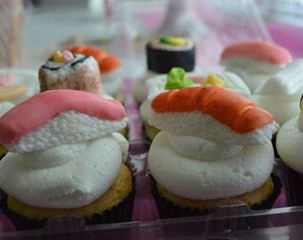 Fondant Sushi Cupcake Toppers (100% Edible)