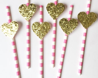 Pink paper straws w/ glitter hearts. Bachelorette Party. Wedding. Bridal Shower.  Engagement (12 or 24)