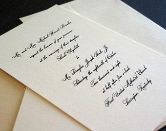 Sample Traditional Script wedding invitation