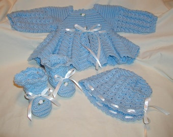 Blue Baby Girl Layette Set including jacket, bonnet and booties - size 6-12 months