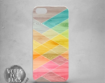 iPhone 5 case, iPhone 5 geometric, iPhone 5 colorful, iPhone 5 case wood print, iPhone 5 pink Green