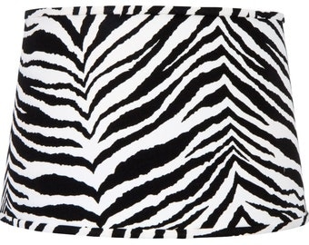 UpgradeLights Zebra Fabric Print 16 Inch Retro Drum Floor or Table Replacement Lamp Shade