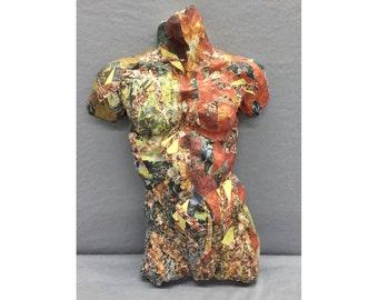 Standing Male Torso / Hanging Male Torso / Male Torso Sculpture / Bisque Fired Clay  / Decoupage Torso