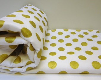 Baby Blanket Gold Shimmer Dot With Cotton And Minky Homemade