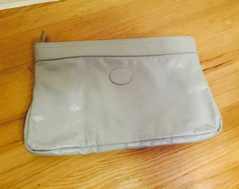 Grey Leather Clutch Purse