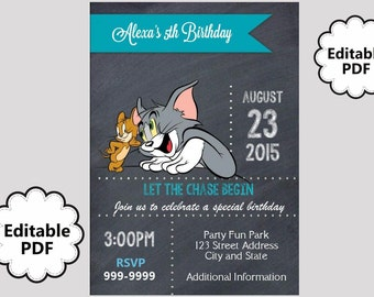 EDITABLE TEXT Tom and Jerry Birthday Invitation - Tom and Jerry Party Invites - Tom and Jerry Invite -Instant Download