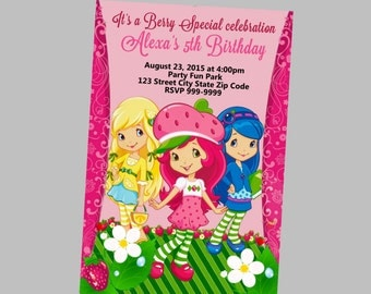 Strawberry Shortcake Invitation 4x6 or 5x7