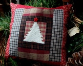 Christmas Pillow, Homespun Pieced Pillow Tuck, 10 Inch Square, Hand Appliqued White Pine Tree, Pillow Tuck, Primitive, Rustic, CIJ TeamHAHA
