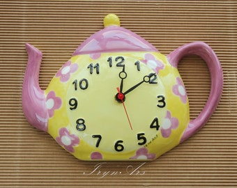 "Sale-10%: ceramic Wall Clock ""Tea pot"". Country style, various colours, playful fantasies."