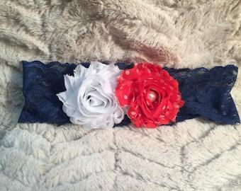 SALE****Polka Dot Red, White and Blue Headband