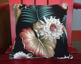 Night Blooming Cereus in Ebony-Made in Hawaii-Retro-Zippered-Barkcloth Pillow Cases