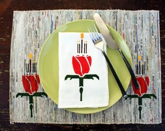 Deco Red Rose Flour Sack Napkin Set