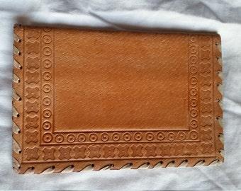 Vintage 1980's Handmade Beige Leather Wallet - NEW
