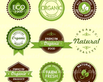 20% SALE OF Green Organic Label Clipart Vector Instant Download