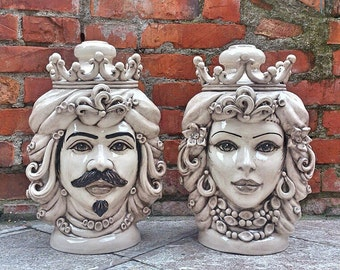 Pottery lamp - ceramic lamp base - pottery heads -table lamp