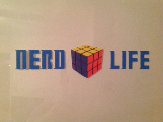 nerd life rubix cube decal by nerddecals on etsy. Black Bedroom Furniture Sets. Home Design Ideas