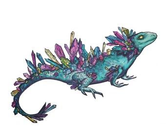Mystic Crystal Lizard Print FREE SHIPPING IN U.S.A
