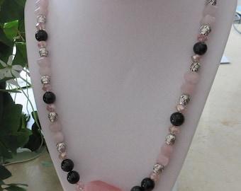 Rose Quartz, Rainbow Eye Obsidian and Crystal Necklace