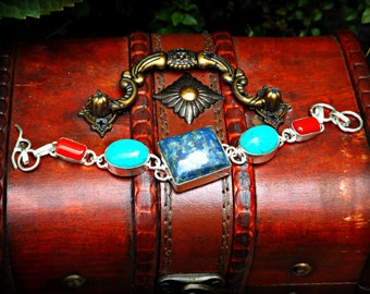 Turquoise Lapis Coral Bracelet, Ethnic Bracelet, Blue Lapis Bracelet, Blue Turquoise Bracelet, Silver Bracelet Tribal Bracelet Ethnic Jewelr