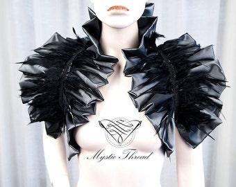Grey shiny taffeta shrug bolero with black feathers-gothic bolero-victorian bolero-shrug bolero-ruffle bolero-featherd bolero
