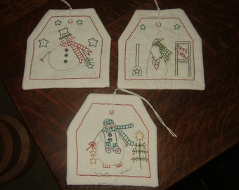 Primitive Embroidered Snowman Hang Tags~Set of 3~Large Size~Last Ones! On Clearance!