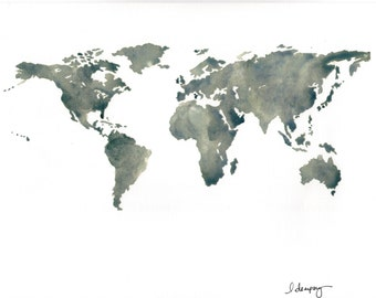 Watercolor print of world map on high quality acid-free linen paper.
