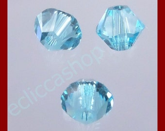 Bead bicone faceted half-crystal 4 mm color turquoise 60 PZ