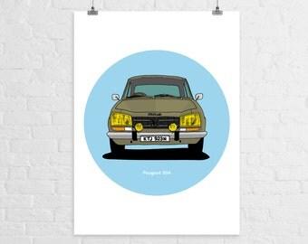Peugeot 504 A3 Print