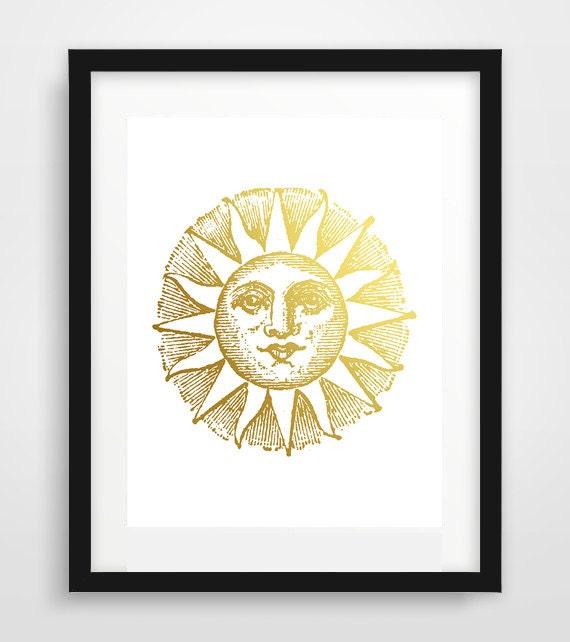 Etsy Gold Wall Decor : Gold sun wall print wedding gift