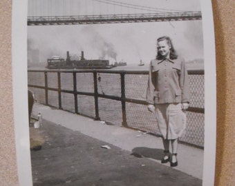 Original Vintage Photo Snapshot Abstract Off Center Ship Bridge River Woman