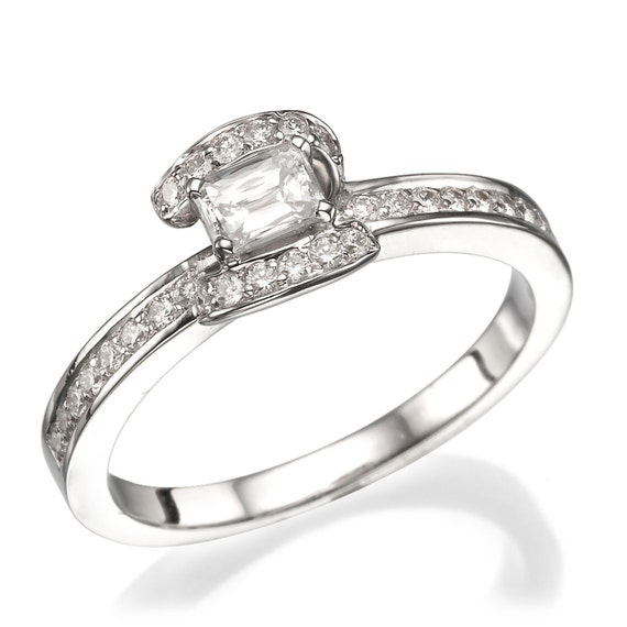 emerald cut engagement ring pave by