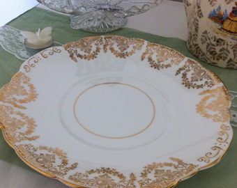 Vintage Cake Plate, Gold and White Cake Plate