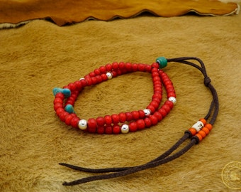 Native American Beaded Necklace with Sterling silver beads and Turquoise stones - Kurashikku Goods