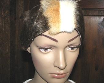 Fur HEADBAND boho vintage hand made fur sable and rabbit fur