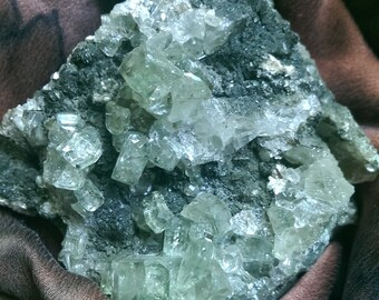 Appealing Apatite in Matrix, Blue Crystals, Natural Gemstone Specimen, Healing Rock, Psychic Stone, Blue/Green Apatite, Portuguese Apatite